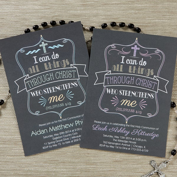 Personalized First Communion Invitations - Christ Strengthens Me - 14155