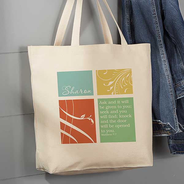 6556eb67fcc Inspirational Faith Personalized Canvas Tote Bag - Large - For Her