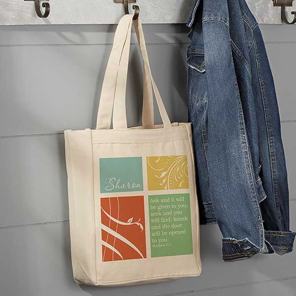 a74a67024b9 Inspirational Faith Personalized Canvas Tote Bag - Small - For Her
