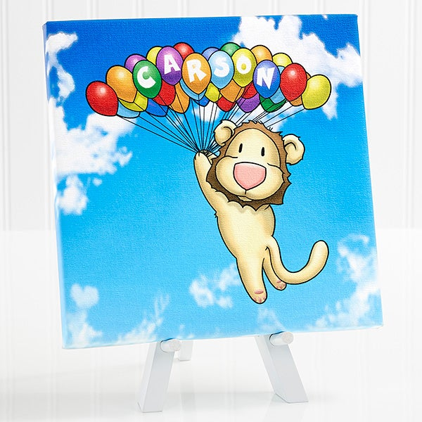 Personalized Kids Room Decor - Floating Zoo Canvas Print - 14184