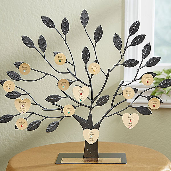Personalized Birthstone Family Tree Sculpture - Gold - 14191D