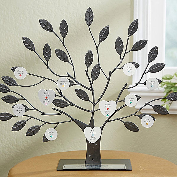 Personalized Birthstone Family Tree Sculpture - Silver - 14192D