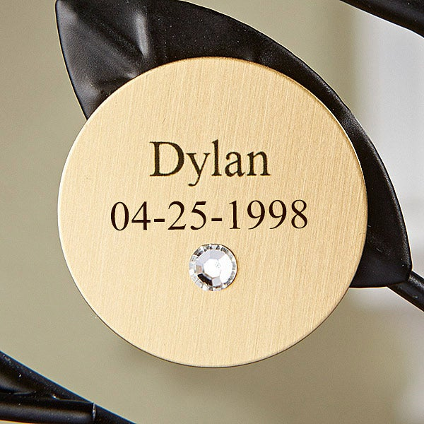 Personalized Birthstone Family Tree Round Gold Disc - 14195D