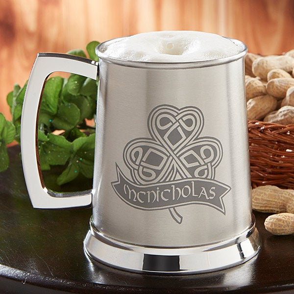 Personalized Beer Tankard - Celtic Shamrock - 14213