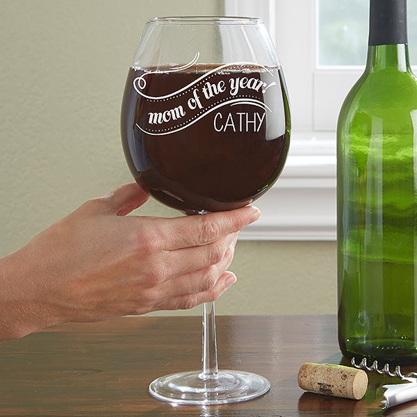 Personalized Wine Glass - Whole Bottle - Mom Of The Year - 14242