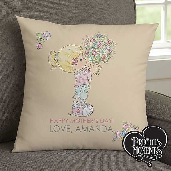 Personalized Precious Moments Flower Bouquet Throw Pillow for Mom - 14271