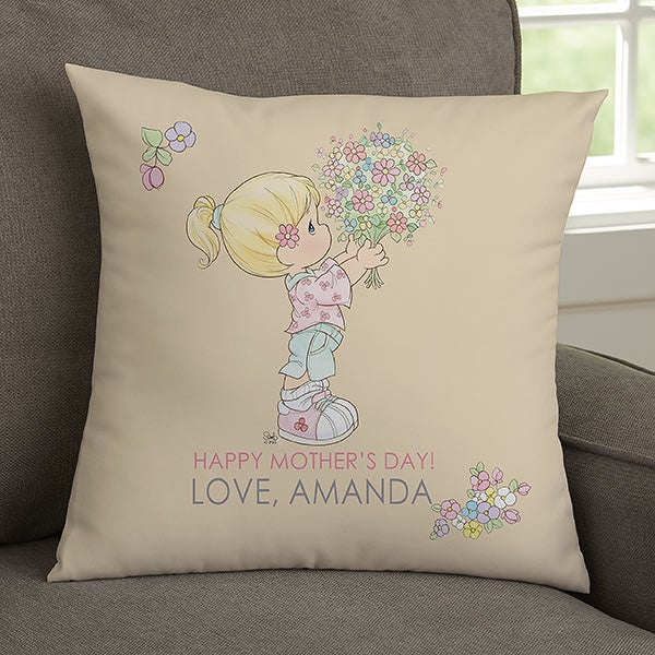 Personalized Precious Moments Flower Bouquet Throw Pillow For Mom