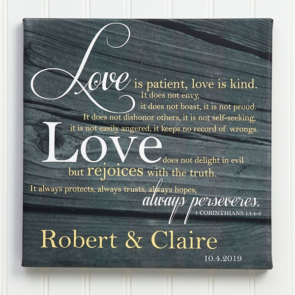 Personalized Wall Art Canvas Prints - Love Is Patient - 14290