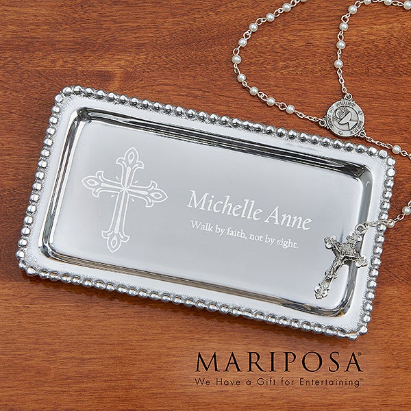 Personalized Jewelry Tray - Christian Cross - 14291