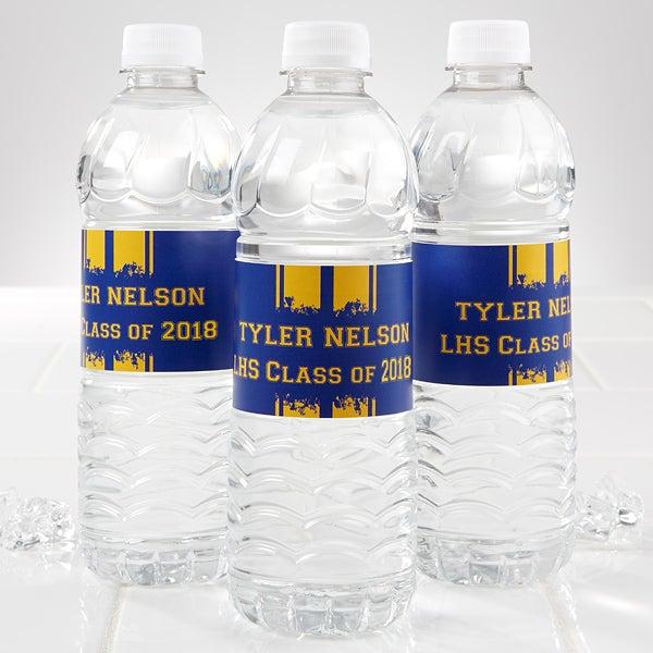 Personalized Water Bottle Labels - Graduation School Spirit - 14303