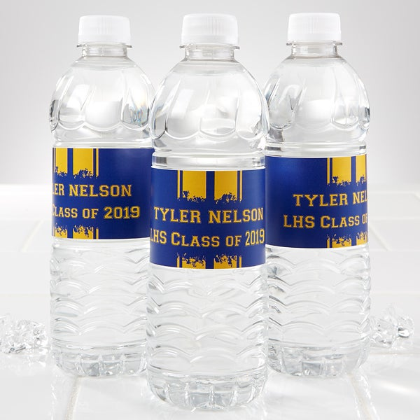 Personalized Water Bottle Labels Graduation School Spirit
