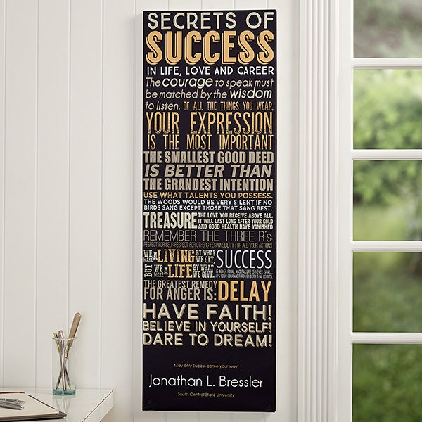 Personalized Office Canas Print - Secrets of Success - 14311