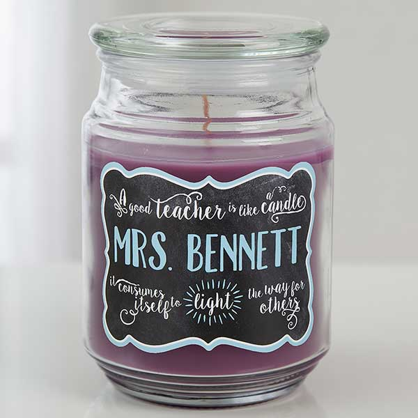 Personalized Candle Jar - Teachers Light The Way - 14323