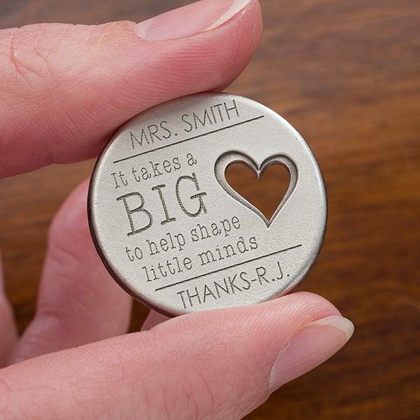 Personalized Keepsake Pocket Token - Teacher's Heart - 14328