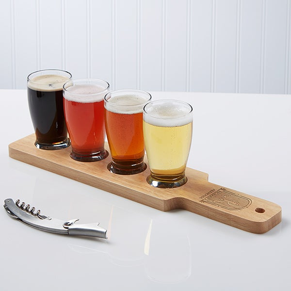 Alehouse Personalized Beer Flight & 4pc Glass Set