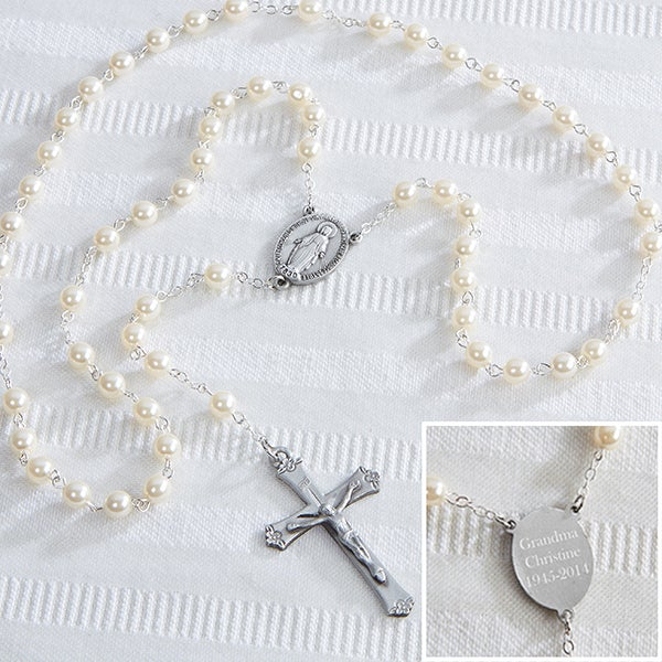 Personalized White Rosary - Adult - 14365