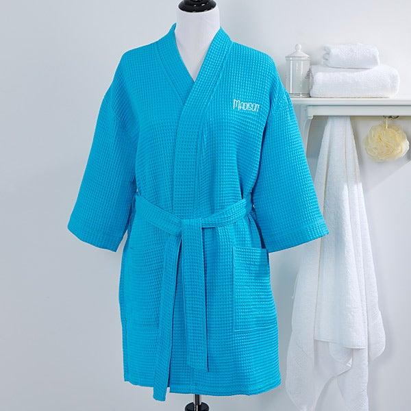 7d768e1580 Personalized Ladies Bathrobe   Makeup Bag - Aqua - 14396