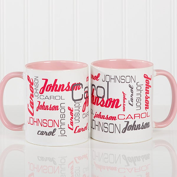 7c054a192a4 Personalized Coffee Mugs For Him - Signature Style - Pink Mug