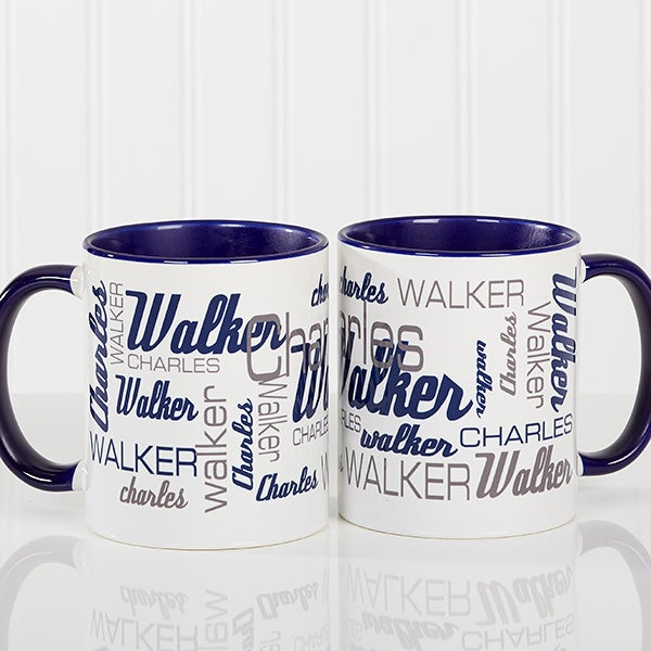 193467ea175 Personalized Coffee Mugs For Him - Signature Style - Blue Mug