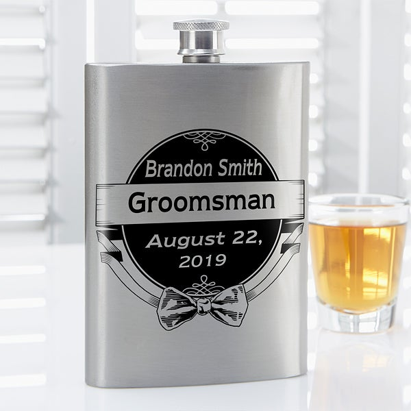 Personalized Flasks For Men - Cheers To The Groomsman - 14462