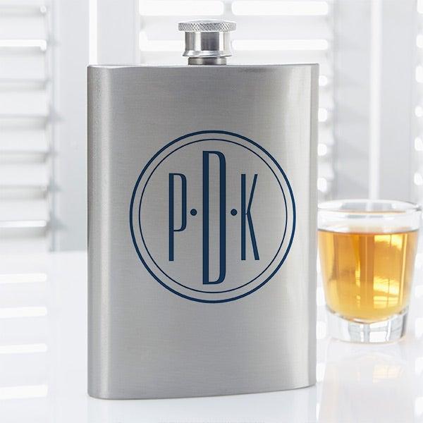 Personalized Drinking Flask - Distinguished Monogram - 14464