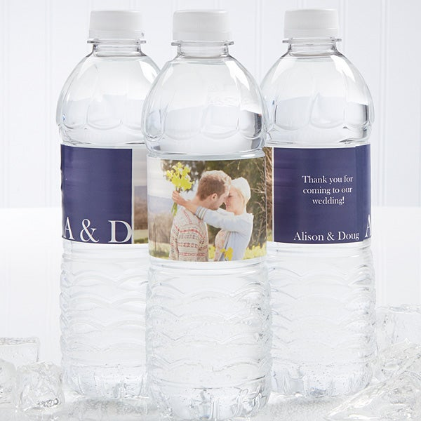 Personalized Photo Water Bottle Labels - Wedding Couple - 14505