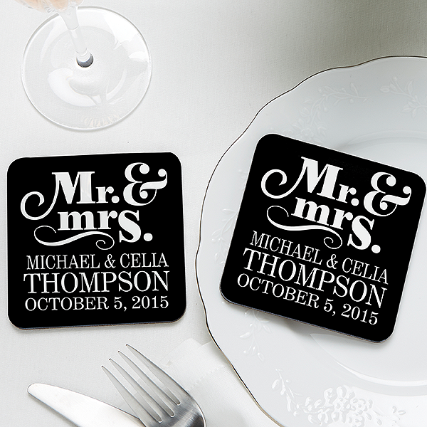 Personalized Wedding Favor Coasters - Happy Couple - 14515