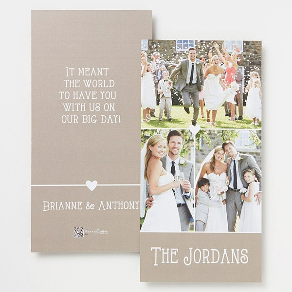 Personalized 3 Photo Wedding Thank You Cards