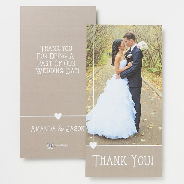 Personalized Wedding Photo Thank You Cards Single