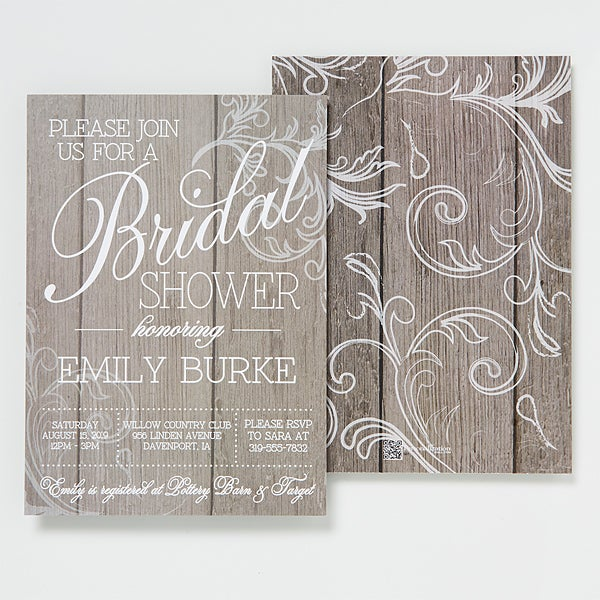 personalized bridal shower invitations rustic wedding 14522