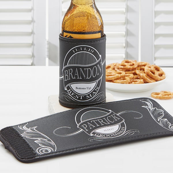 Personalized Bridal Party Can & Bottle Wraps - Groomsman - 14543