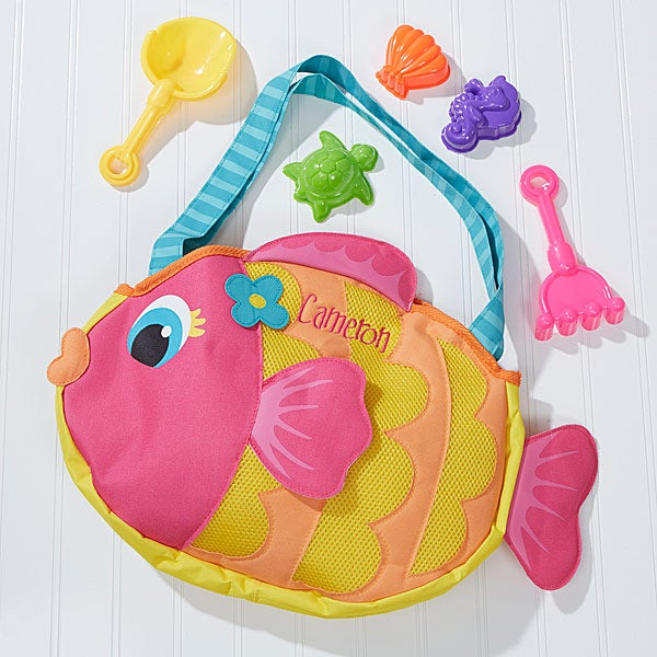 Personalized Kids Fish Tote Bag & Beach Toy Set - 14548
