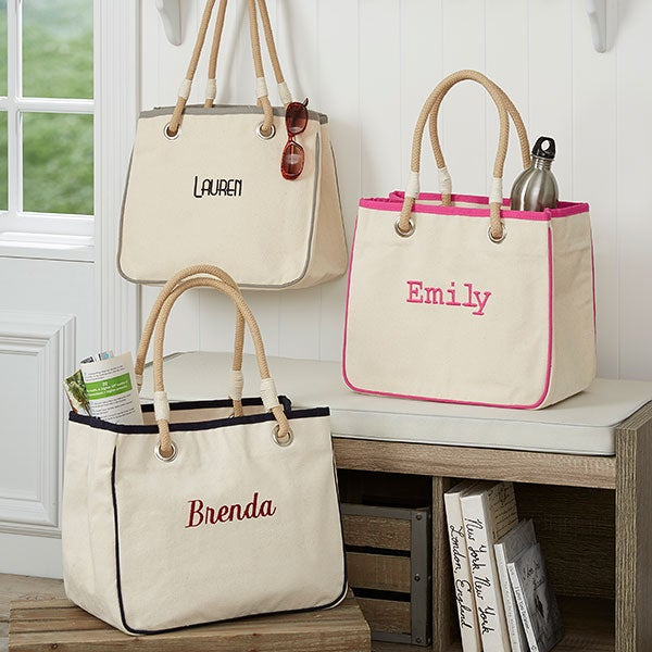 Personalized Canvas Rope Tote Bag Makeup 14555