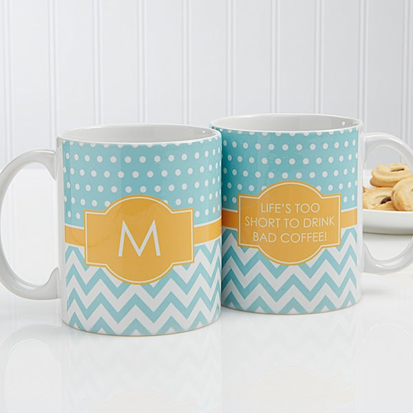 Personalized Coffee Mugs - Preppy Chic Chevron - 14559