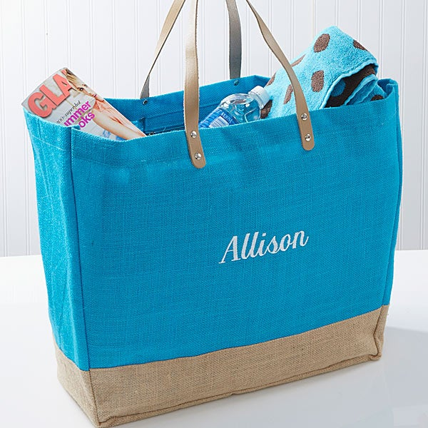 Turquoise Burlap Embroidered Tote