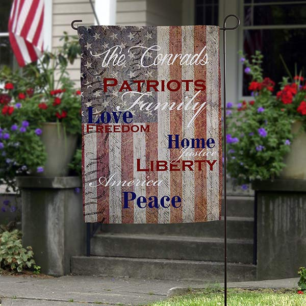 Patriotic Family Personalized Garden Flag