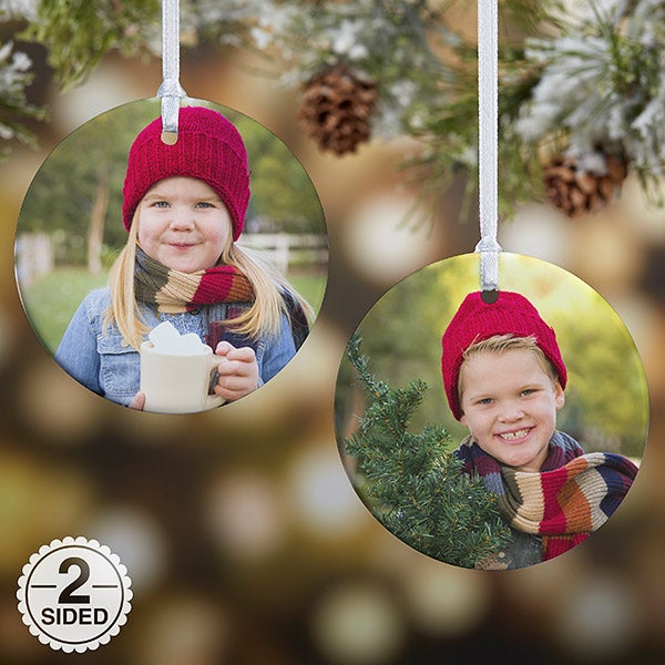 Personalized Photo Christmas Ornaments - 2-Sided Personalization - 14590 - Personalized Photo Christmas Ornament - 2-Sided - Christmas Clearance