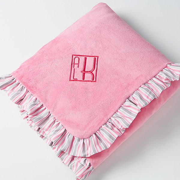 Personalized Pink Baby Blanket - embroidered velour - 14610
