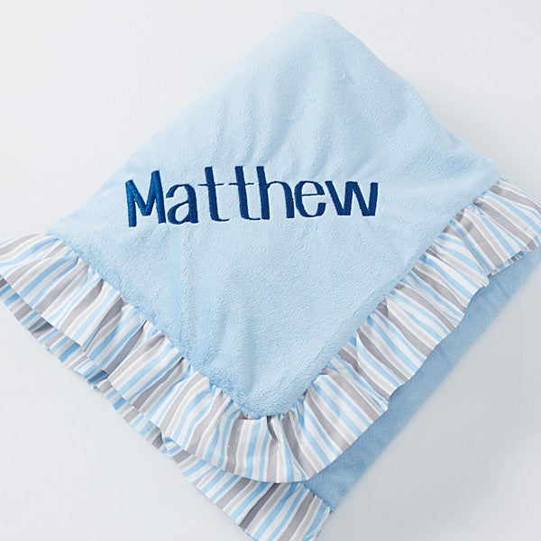 Personalised Gift Message White Baby Shawl Blanket Blue Embroidery
