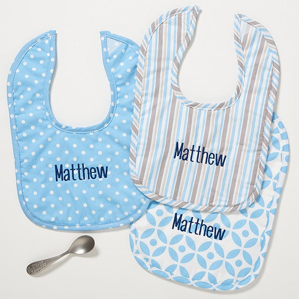 Personalized Baby Girl Bibs - Little Boy Blue - embroidered - 14614