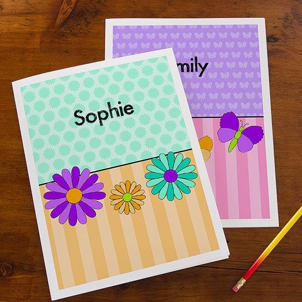 Personalized Girls Folders - Flowers, Butterflies, Ladybugs & Cupcakes - 14629