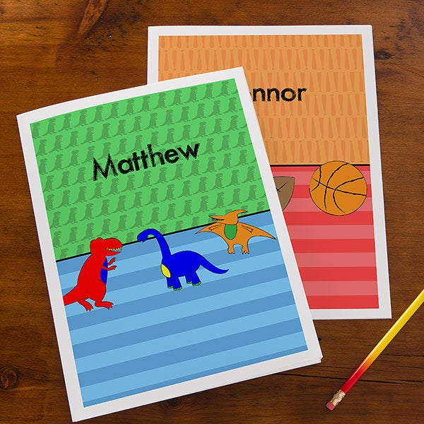 Personalized Boys Folders - Sports, Cars, Dinosaurs & Robots - 14630