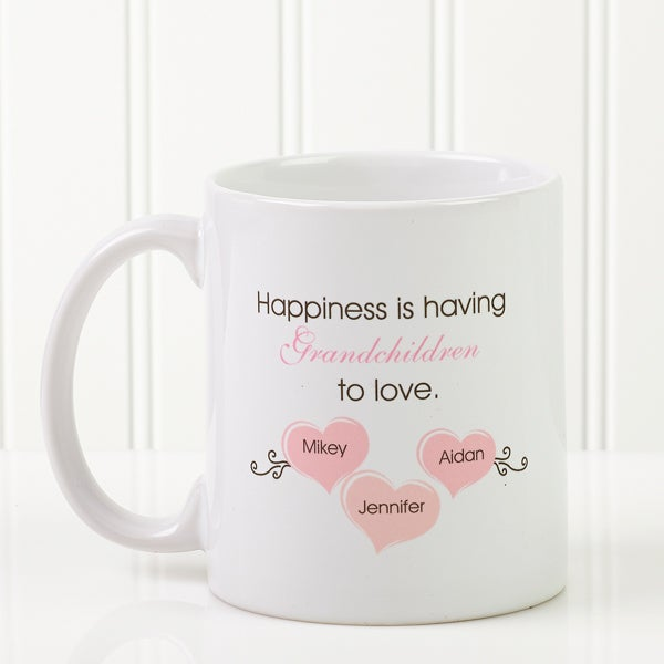 Personalized Coffee Mug - Mothers Day - Happiness is having grandchildren - 14646