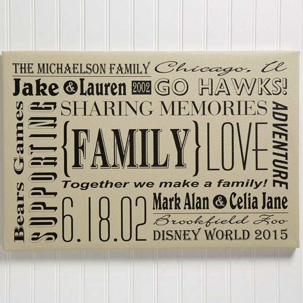 Personalized Family Canvas Print Wall Art Our Family