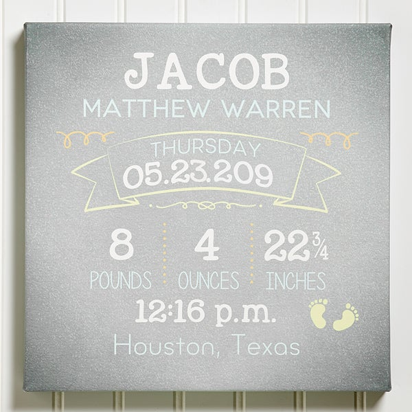 Personalized Baby Wall Art - Baby Birth Info - 14687