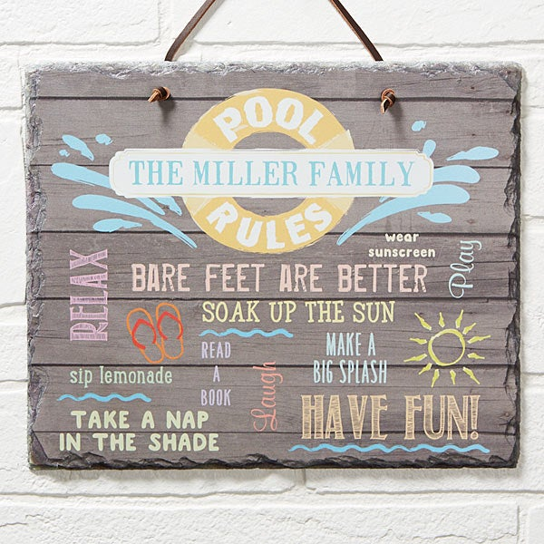 Personalized Slate Sign Water Rules Plaque