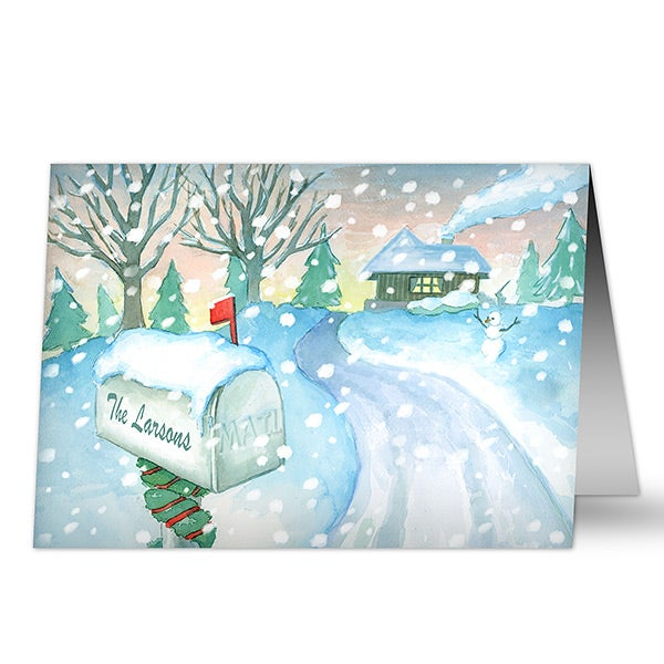 Personalized Christmas Cards - Enchanted Snow Escape - Business - 14735