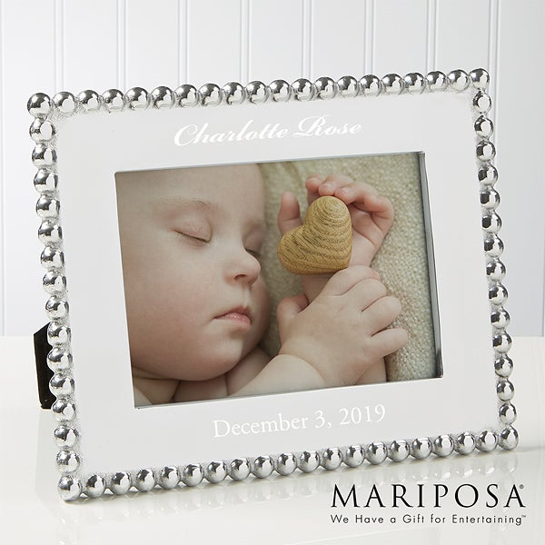 Personalized Baby Picture Frames - String of Pearls - Mariposa - 14788