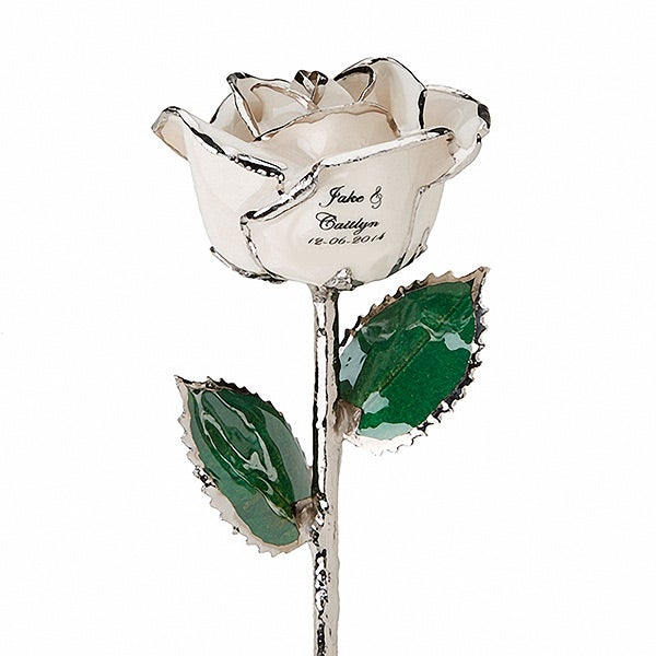 Personalized White Rose - Wedding & Anniversary - Gold & Silver - 14814D