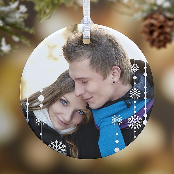 Personalized Photo Christmas Ornament - Blue Snowflakes - 14828